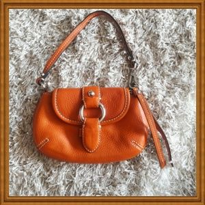 BANANA REPUBLIC Orange Leather Wristlet